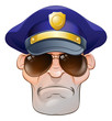 Mean Angry Cartoon Police Man Cop in Shades