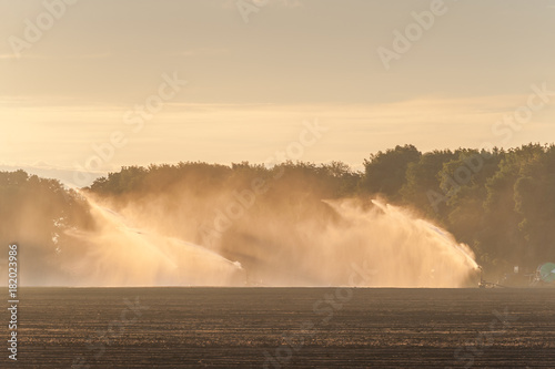 Foto op Aluminium Beige Agricultural landscape with watering