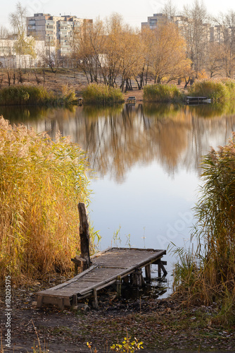 In de dag Kiev Pontoon and Phragmites australis close to the lake in autumn, in Kiev, Ukraine