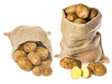 a fresh raw potatoes in a sack on a white background - 182027160