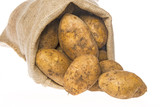 a fresh raw potatoes in a sack on a white background - 182027591