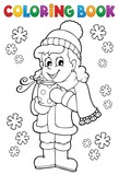 Coloring book girl in winter clothes - 182027904