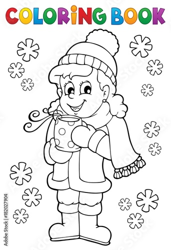 Foto op Canvas Voor kinderen Coloring book girl in winter clothes