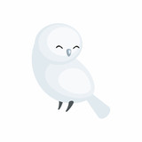 The image of a cute cartoon polar owl. Vector illustration.