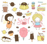 Set of different hand drawn sweet food doodles, with kawaii cartoon faces, arms, legs, cute fairy girls with wings and magic wands. Isolated objects on white background. Design concept dessert, kids.