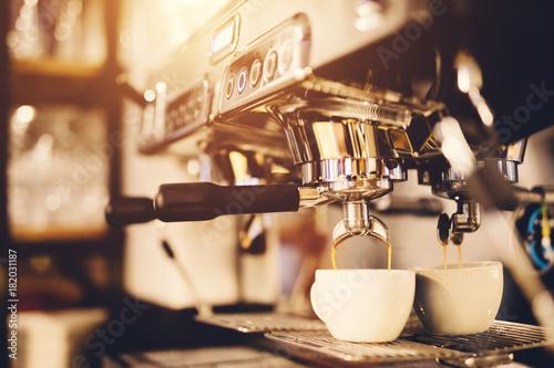 Poster Morning coffee preparation. Coffeemaker.