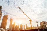 construction site in modern city with sunbeam - 182032722