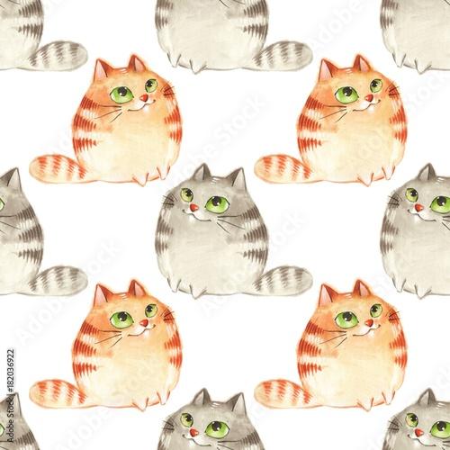 Fototapeta Watercolor cartoon cats, seamless pattern 5