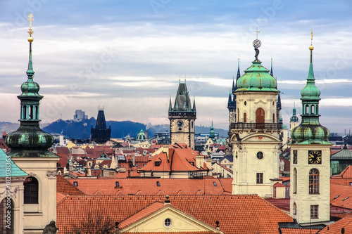 Staande foto Praag Beautiful and old Prague with red bricks roofs over the entire city, Czech Republic