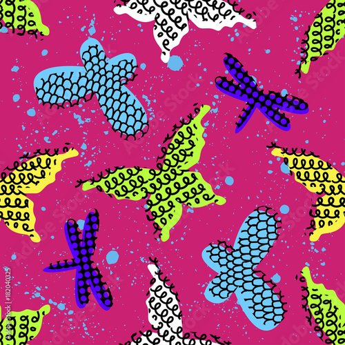 Poster Vlinders in Grunge Abstract seamless pattern for girls clothes. Creative background with butterfly. Funny wallpaper for textile and fabric. Fashion style. Colorful bright