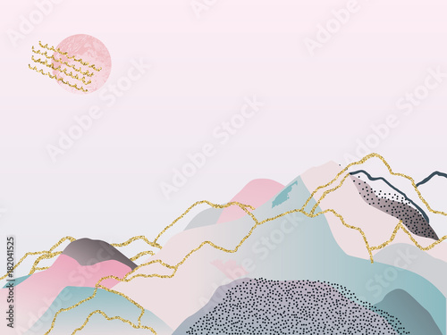 Abstract watercolor background. Japanese design. Hand drawn illustration - 182041525
