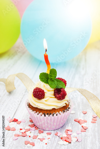 Cupcake and candle Poster