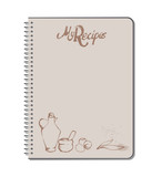 Recipe notebook with hand drawn text, oilcan, mortar, eggs and olive leaves. stains of ink drops. Blank space - 182045776