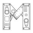Mechanical letter M engraving vector illustration