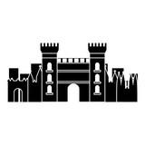 castle building in city icon image vector illustration design  black and white - 182051369