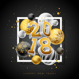 Happy New Year 2018 Illustration with Gold 3d Number and Ornamental Ball on Black Background. Vector Holiday Design for Premium Greeting Card, Party Invitation or Promo Banner. - 182054925