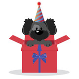 happy birthday greeting card  with cute dog vector illustration