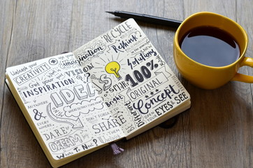 Handwritten sketch notes IDEAS in notepad on table with coffee and pen © treenabeena