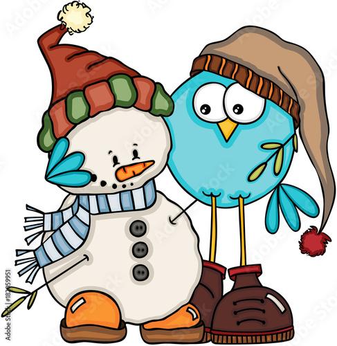 Blue bird embracing cute snowman