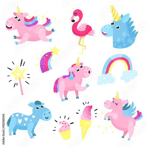 Poster Pony Cute unicorns with set, collection with rainbow, cloud, famingo, star cartoon vector Illustrations
