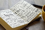 WELL-BEING hand-lettered sketch notes on notebook with coffee and pen - 182060970