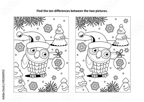 Foto op Canvas Uilen cartoon Winter holidays, New Year or Christmas themed find the ten differences picture puzzle and coloring page with owl wearing santa cap and holding beautiful ornament.