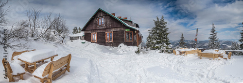Fototapeta Panorama of the winter landscape in the mountains.