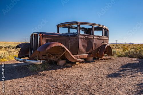 Aluminium Route 66 Abandoned Car in Petrified Forest National Park along Route 66 in Arizona