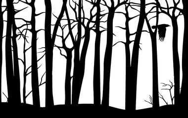 Black vector seamless pattern of scary forest with crooked trees and flying crow isolated on white background