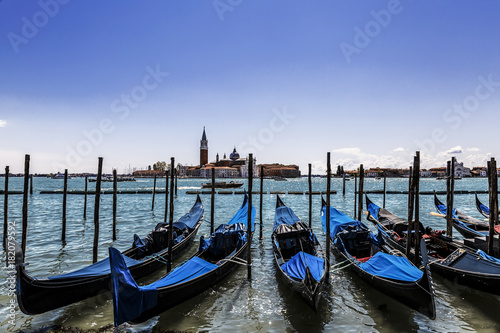 Deurstickers Venetie A view of the Cathedral of San Giorgio Maggiore, Venice lagoon and gondolas from the Piazza San Marco, Venice, Italy