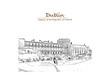 Hand drawn sketch of Dublin Castle in vector illustration. - 182079753