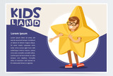 Happy boy dressed as star, cute kid in Christmas costume for masquerade, kids land banner flat vector element for website or mobile app - 182080728