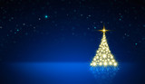 Glowing Christmas tree with star sky . Christmas background.