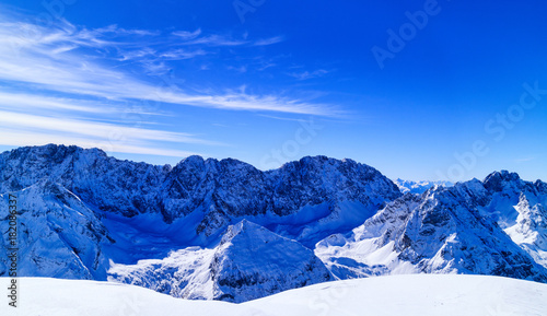 In de dag Donkerblauw Winter landscape with view to the Zugspitze