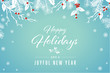 Turquoise Happy Holidays and Joyful New Year Vector Illustration 1