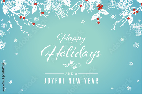 Turquoise Happy Holidays and Joyful New Year Vector Illustration 1