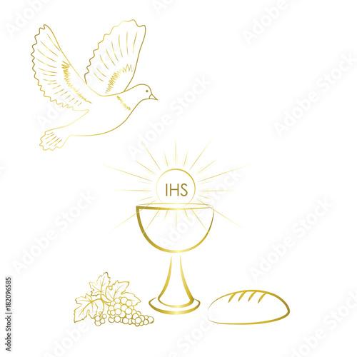 First communion symbols for a nice invitation design.