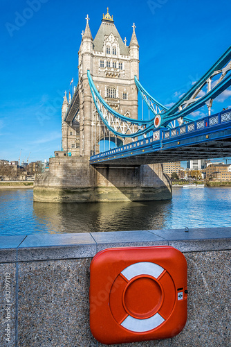 Poster London Tower Bridge and lifeguard in London, UK