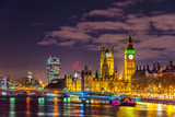 Westminster Palace and Big Ben at night in London - 182097552