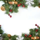 Decorative Christmas background with decorations and fir tree branches - 182106386