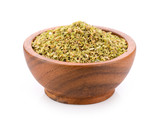 Oregano spice in wood bowl on white background - 182107308