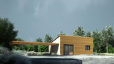 Very small modern house in nature. Low energy, very small house in nature landscape with wood plank facade.