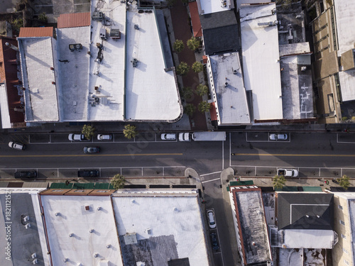 Straight down view of retail district of small town in America. Poster