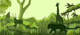 African savannah with inhabitants, vector silhouettes, giraffe, lion, antilope - 182114938