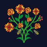 bunch flowers and bees flying embroidery fashion trend textile design dark background vector illustration - 182116909