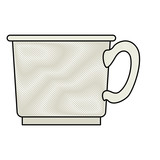 coffee cup in colored crayon silhouette on white background vector illustration