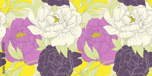 Fototapeta Seamless pattern, hand drawn pink, white and purple Peony flowers on yellow background