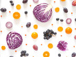 Composition of vegetables and fruits on a white background. Pattern made from fresh vegetables and fruits. Top view, flat design. Collage of red cabbage in a cut, eggplants, plums, grapes, mandarins. - 182121328