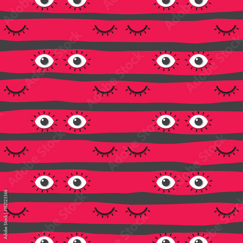 Materiał do szycia Seamless pattern background with close and open eyes.Psychedelic eyes concept design.Vector illustration.