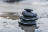 Zen stones, background ocean for the perfect meditation - 182126568
